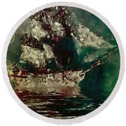 Return Of The Flying Dutchman Round Beach Towel