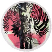 Return Of Zebra Boy Round Beach Towel