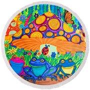 Return To Happy Frog Meadow Round Beach Towel