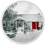 Retzlaff Winery With Red Door No. 2 Round Beach Towel