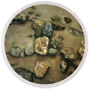 Revealed At Low Tide Round Beach Towel