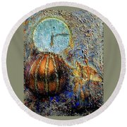 Round Beach Towel featuring the mixed media Revelation by Gail Kirtz