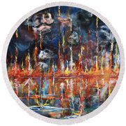 Revelations 20_ 14-15 Round Beach Towel by Gary Smith
