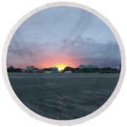 Revere Beach Sunset Round Beach Towel