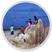 Round Beach Towel featuring the mixed media Reverence 3 by Lynda Lehmann