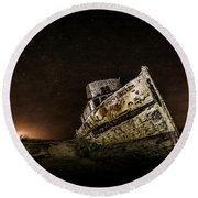 Round Beach Towel featuring the photograph Reyes Shipwreck by Everet Regal