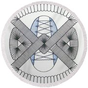 Round Beach Towel featuring the drawing Rfb1001 by Robert F Battles