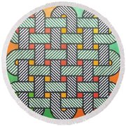 Round Beach Towel featuring the drawing Rfb1002 Variation I Diagonal by Robert F Battles