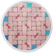 Round Beach Towel featuring the drawing Rfb1006 Variation IIi Diagonal by Robert F Battles