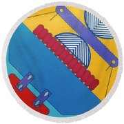Round Beach Towel featuring the drawing Rfb1026 Diagonal by Robert F Battles