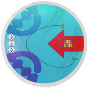 Round Beach Towel featuring the drawing Rfb1027 by Robert F Battles