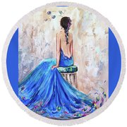 Round Beach Towel featuring the painting Rhapsody In Blue by Jennifer Beaudet