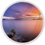 Rhine Bridge Sunset Round Beach Towel