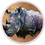 Rhino Round Beach Towel by Anthony Mwangi