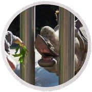 Rhino Eating Grass Round Beach Towel