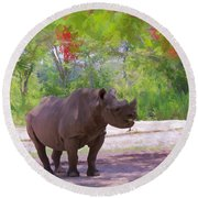 Round Beach Towel featuring the painting Rhino Impressions by Judy Kay