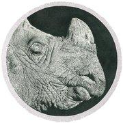Rhino Pencil Drawing Round Beach Towel