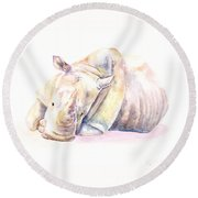 Round Beach Towel featuring the painting Rhino Two by Elizabeth Lock