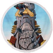 Rhinoceros Riders Round Beach Towel