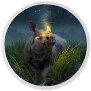 Rhinoceros Unicornis Round Beach Towel