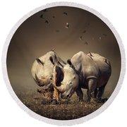 Rhino's With Birds Round Beach Towel