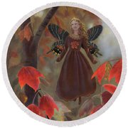 Round Beach Towel featuring the painting Rhiona In The Maple Tree by Nancy Lee Moran