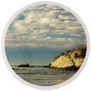 Rhode Island Beach In Winter Round Beach Towel