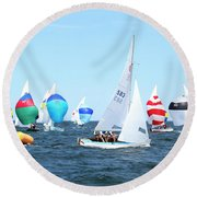 Round Beach Towel featuring the photograph Rhodes Nationals Sailing Race Dennis Cape Cod by Charles Harden