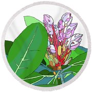 Rhododendron Graphic Round Beach Towel