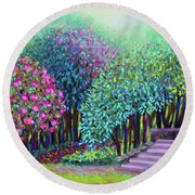 Rhododendrons In The Sunken Garden Round Beach Towel