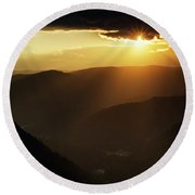Rhodope Mountains At Sunset Round Beach Towel