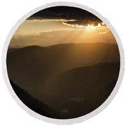 Rhodope Mountains Sunset2 Round Beach Towel