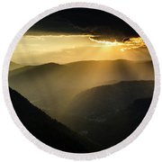 Rhodope Mountains Sunset3 Round Beach Towel