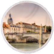 Bridge Over The Rhone River, France Round Beach Towel