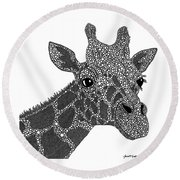 Rhymes With Giraffe Round Beach Towel by Laura McLendon