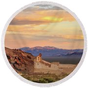 Round Beach Towel featuring the photograph Rhyolite Bank At Sunset by James Eddy