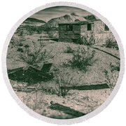 Rhyolite Nevada Ghost Town Shack Round Beach Towel by Bartz Johnson
