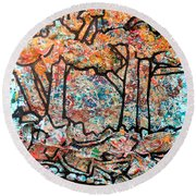 Round Beach Towel featuring the mixed media Rhythm Of The Forest by Genevieve Esson