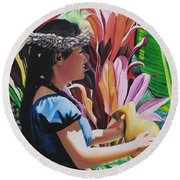 Rhythm Of The Hula Round Beach Towel by Marionette Taboniar