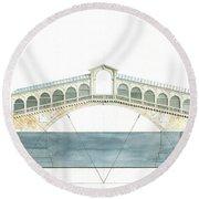 Rialto Bridge Venice Round Beach Towel