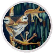 Round Beach Towel featuring the painting Ribbit by Donna Tuten