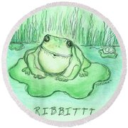 Ribbittt.... Round Beach Towel