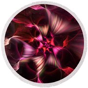 Ribbon Candy Rose Round Beach Towel