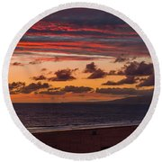 Ribbons Of Red Round Beach Towel