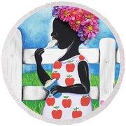 Rice Cream Girl Round Beach Towel