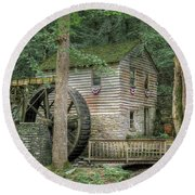 Round Beach Towel featuring the photograph Rice Grist Mill 2017 by Douglas Stucky