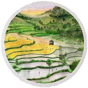 Ricefield Terrace II Round Beach Towel by Melly Terpening