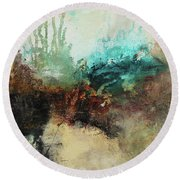 Rich Earth Tones Abstract Not For The Faint Of Heart Round Beach Towel