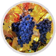 Rich Fall Colors With Grapes Round Beach Towel