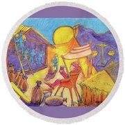 Rich Fool Parable Painting By Bertram Poole Round Beach Towel by Thomas Bertram POOLE